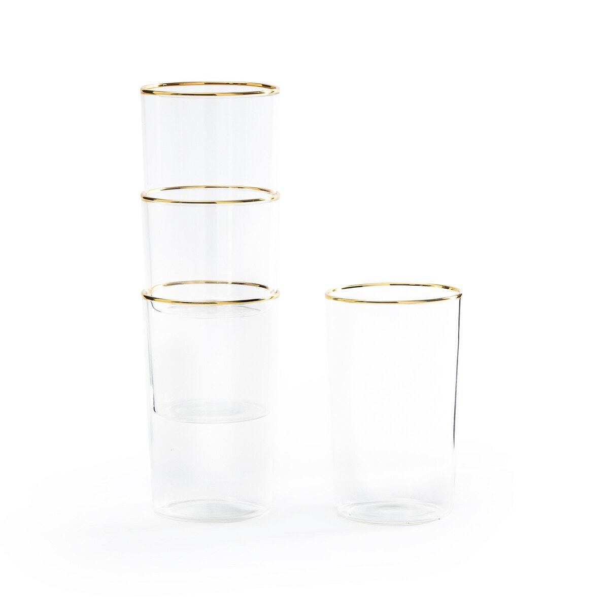 4 vasos con filo dorado