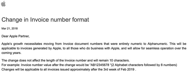 Aviso Apple Facturas