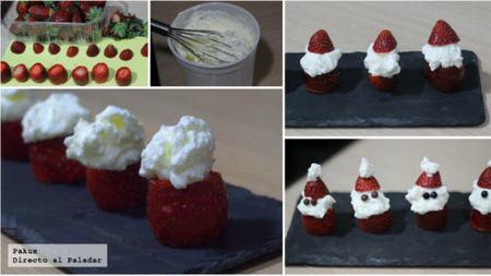 Paso a paso Santa Claus fresas con nata