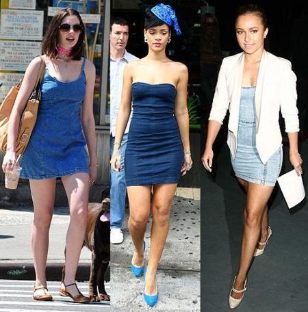Los vestidos de moda son vaqueros