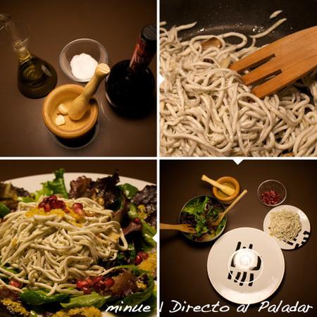 ensalada tibia de gulas - preparación