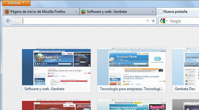 Firefox 13, página de nueva pestaña