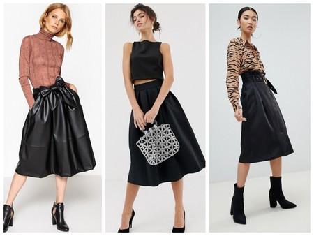 Faldas Negras Con Vuelo