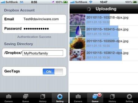 DropPhox, de la cámara de tu iPhone a Dropbox