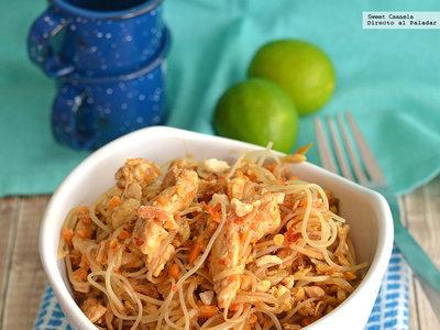 Pad Thai de pollo y tofu. Receta