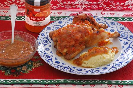 Receta de picantones asados con salsa de mermelada de naranja amarga