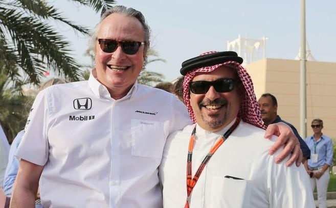 F1 Bahrain Gp 2015 Mansour Ojjeh Mclaren Shareholder With Crown Prince Shaikh Salman Bin I