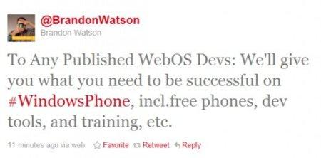 microsoft twitter desarrolladores hp webos windows phone