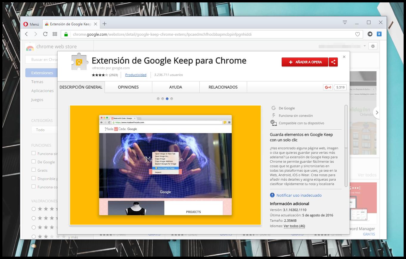 Cómo instalar cualquier extensión para Chrome en Opera