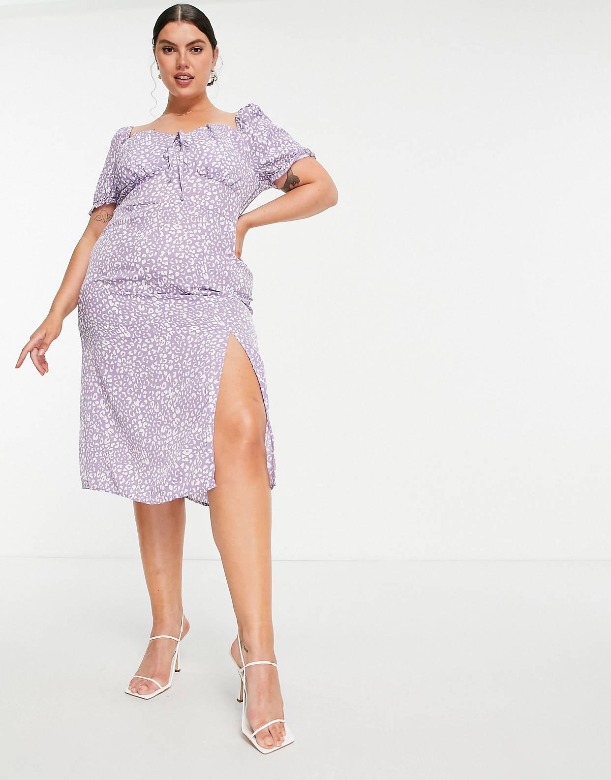 Vestido violeta estilo mesonera con estampado de leopardo de Missguided Plus