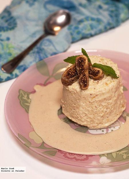 Biscuit helado de frutas secas con salsa de nueces. Receta