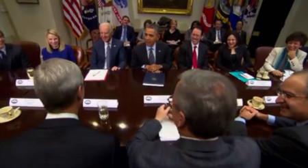 """""""Una gran reunión"""": Tim Cook, tras reunirse con Obama y otros titanes de la tecnología"""