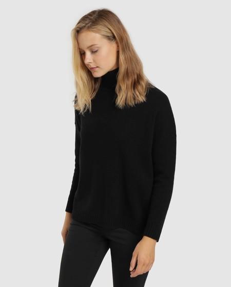 Jersey de mujer con cuello alto 100% lana virgen