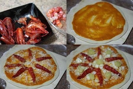 Hacer pizza de carabineros