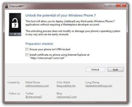 Hacer jailbreak a Windows Phone 7 es cosa de niños con ChevronWP7