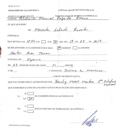 Certificado Medico Cuba