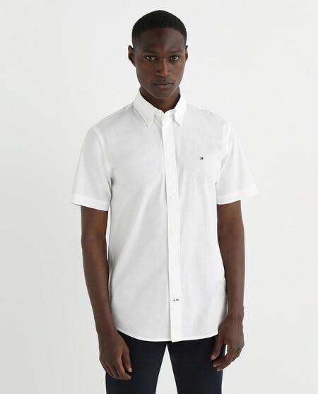 Camisa De Hombre Regular En Popela N Liso De Manga Corta Blanca