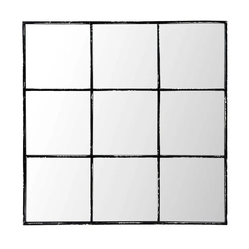 TOBIAS.- Espejo de metal negro 90x90 cms