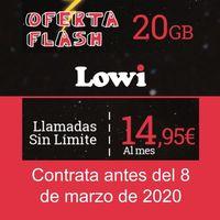 Lowi hace accesible para todos su tarifa de 20 GB por 14,95 euros, si la solicitas antes del 8 de marzo