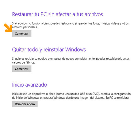 restaurar sistema windows 8 paso 4