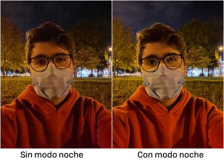 Selfie Modo Noche Comparativa