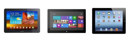 Galaxy Tab 10.1, Surface, iPad 3