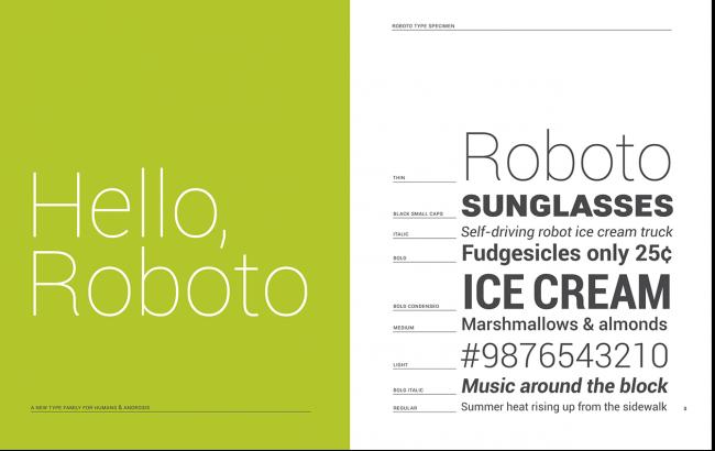 Roboto tipografía Android