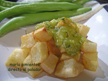 Patatas fritas al pesto. Receta