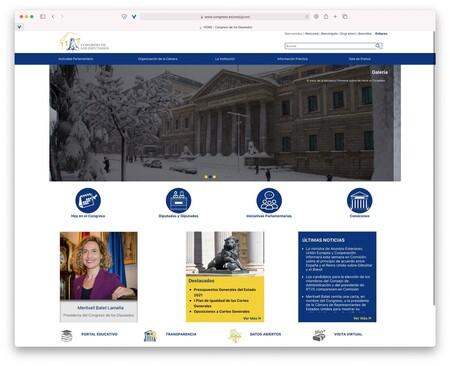 Pantallazo de la web Del Congreso