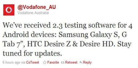 Vodafone preparando Gingerbread para Samsung Galaxy Tab, en Australia
