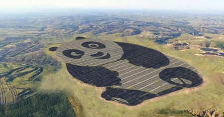 China ha construido una planta de energía solar con forma de panda porque todo es mejor con pandas