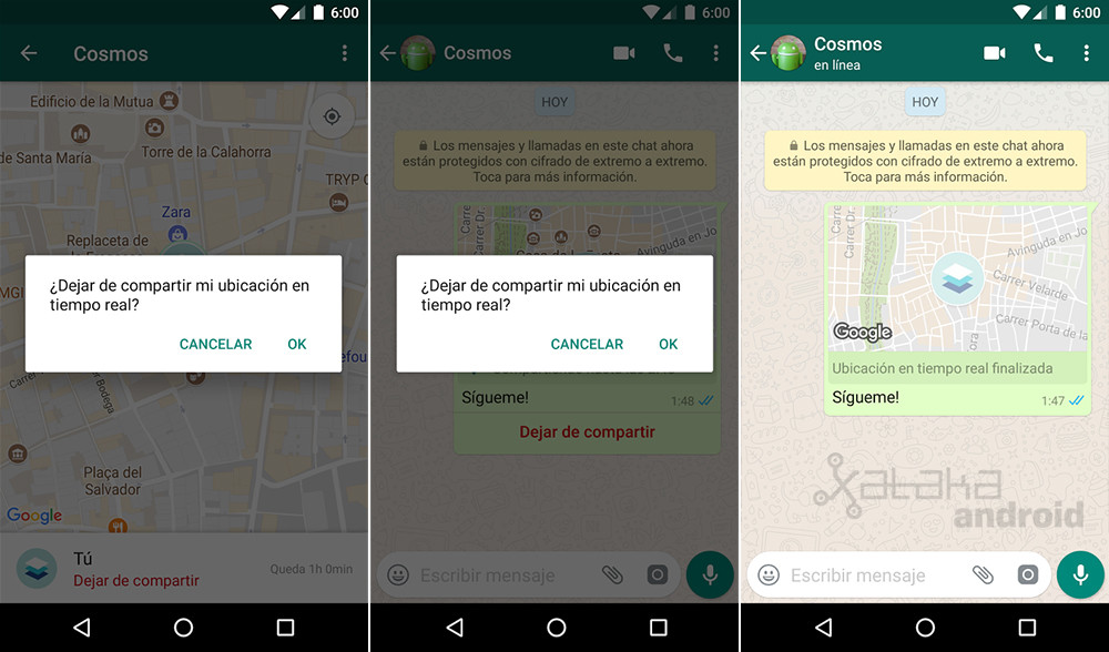 WhatsApp location real-time