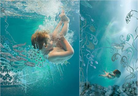Fotos artísticas de bebés y niños bajo el agua