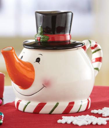 Tetera con forma de muñeco de nieve de Navidad, un toque especial a la hora del té