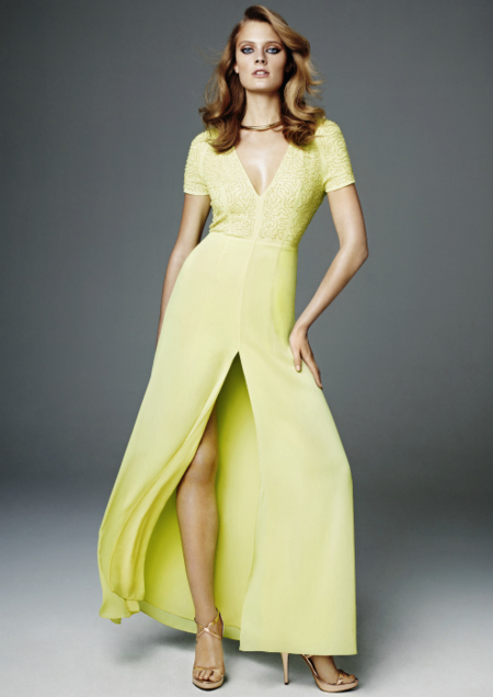 vestido amarillo largo HM