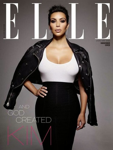 ¿Veo doble? ¡No! Veo triple a Kim Kardashian en Elle UK