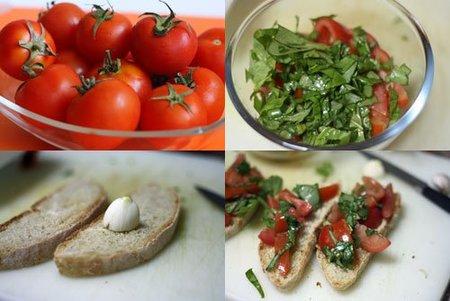 Hacer bruschetta de tomate bola y albahaca