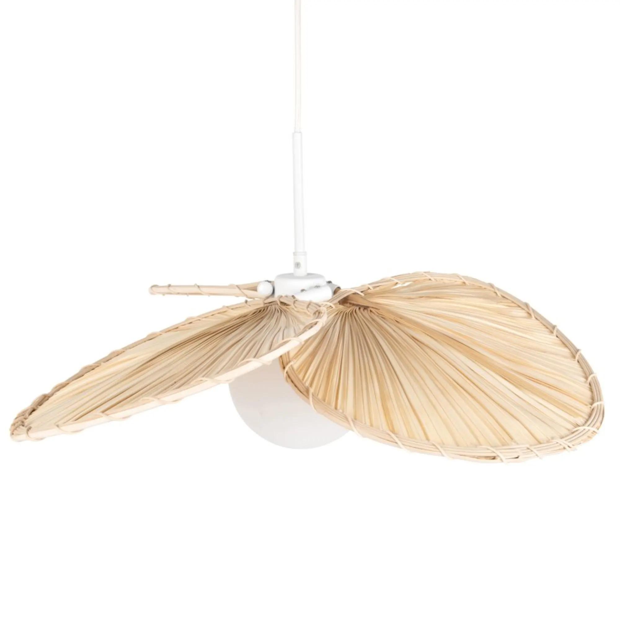 Lámpara de techo de hojas de fibra de palmera