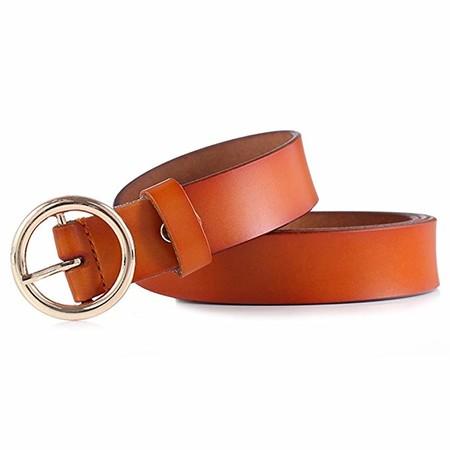 GAXmi Cinturón de Cuero para Mujer Señoras Cinturones Estrechos para Jeans/Vestido con Hebilla Redonda