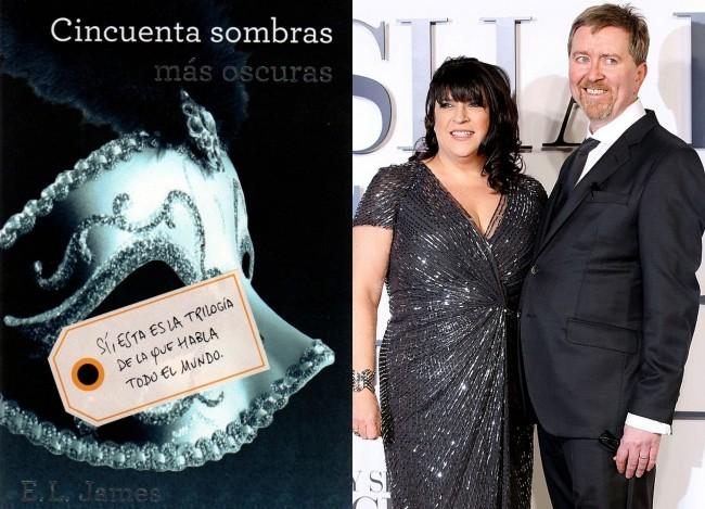 E.L. James y Niall Leonard en el estreno de Cincuenta Sombras de Grey