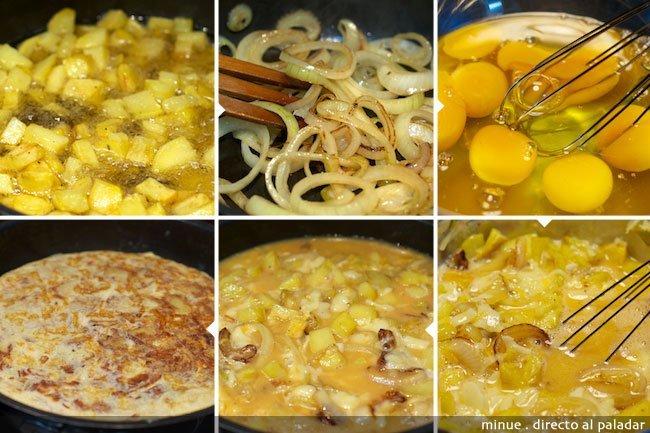 Tortilla de patatas con queso - elaboración