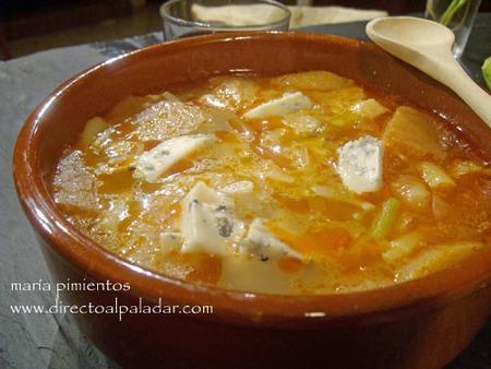 Receta de sopa de ajos silvestres con gorgonzola