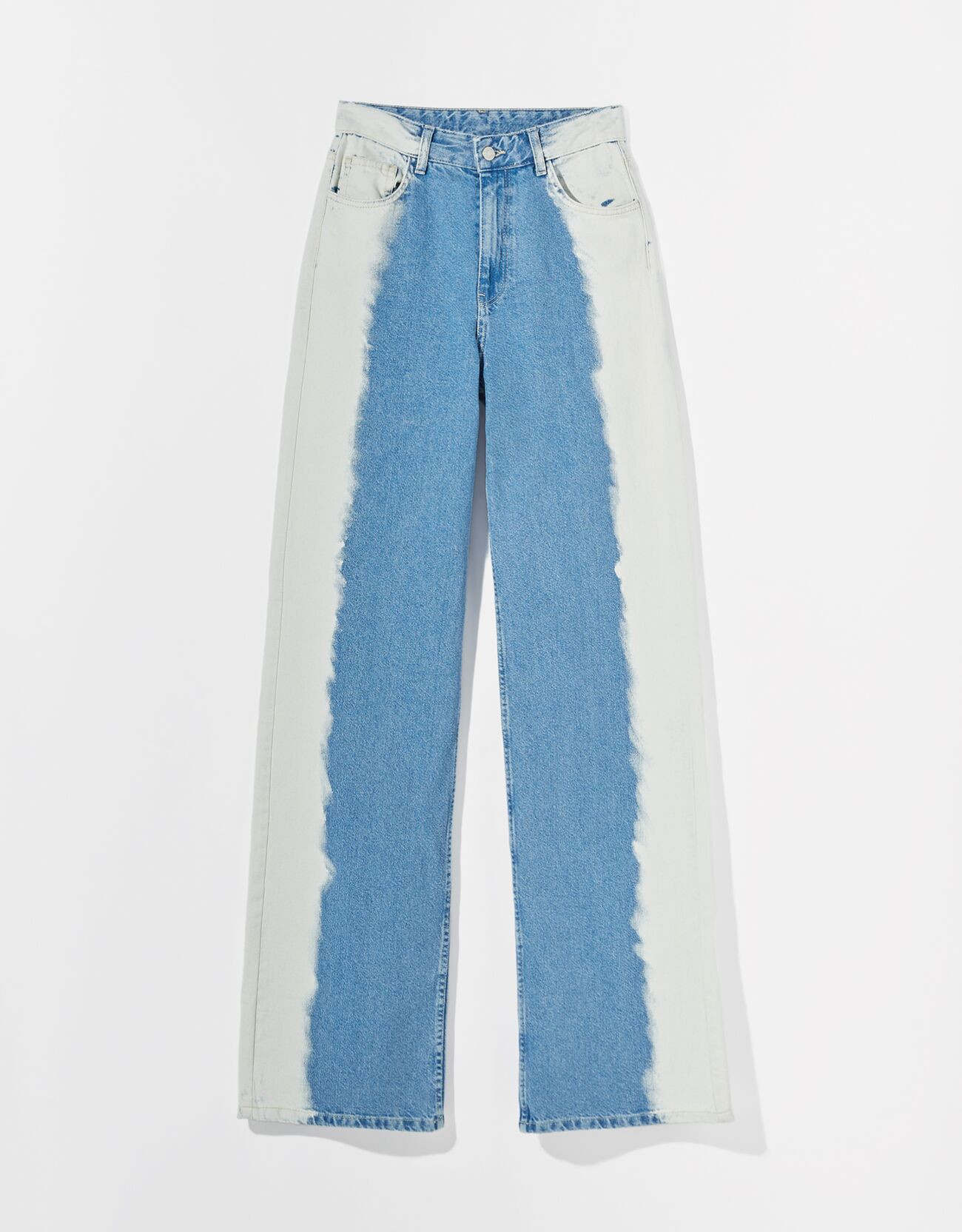 Jeans 90's contraste lateral bicolor.
