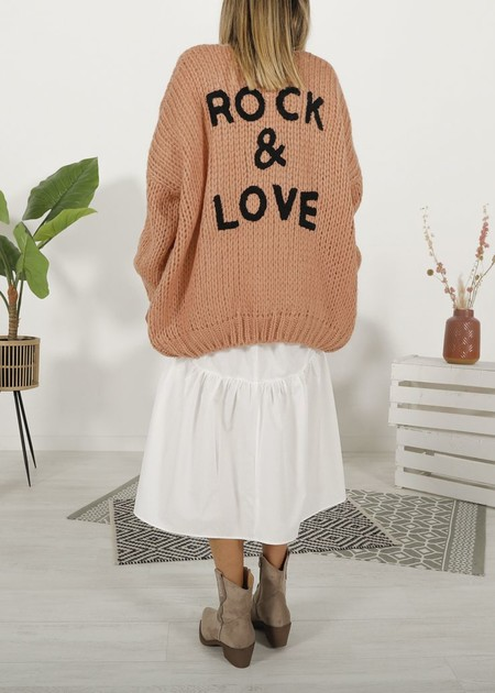 Cardigan Grueso Rock And Love Rosa