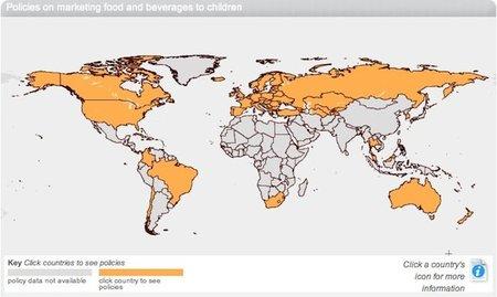 Mapa interactivo de la política de comercialización de alimentos para niños