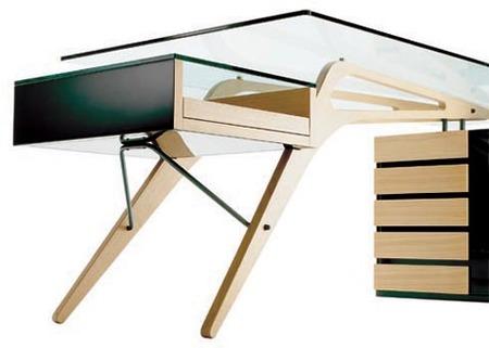 mesa madera y cristal zanotta