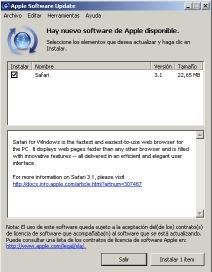 Safari descargandose como software update