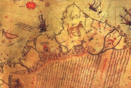 Detalle del mapa de Piri Reis