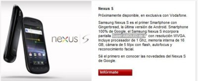 Nexus S de Vodafone tendrá pantalla SuperAMOLED, ¿para empresas?