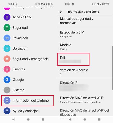 Cómo ver el IMEI en Android